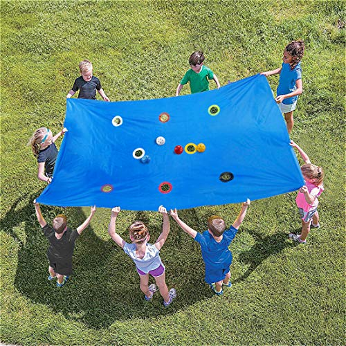 Artoflifer Hole Tarp Team Building Game Activities Teamwork Group Learning Fun Playing L94xW57 inches with 8 Balls Size 2.8 inches Diameter