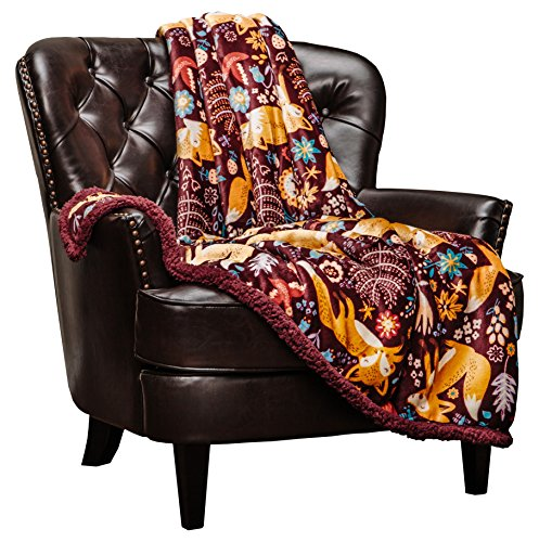 Chanasya Gold Fox Lush Nature Vibrant Color Print Gift Throw Blanket - Plush Sherpa Microfiber Throw for Birthday Gift Kids Bed and Couch (50x65 Inches) Maroon