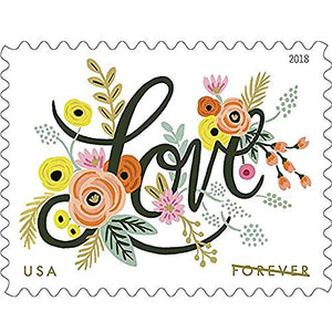 Love Flourishes 2 Sheets of 20 USPS First Class Forever Postage Stamps Wedding Love Valentine 40 Stamps