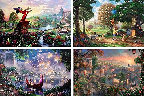 THOMAS KINKADE FANTASIA LADY & THE TRAMP WINNIE THE POOH TANGLED DISNEY DREAMS COLLECTION 4 IN 1 JIGSAW PUZZLE SET 500 pieces
