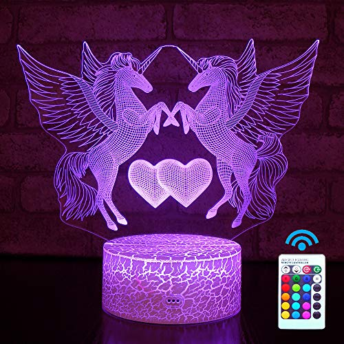 Hyodream Unicorn Lamp,Unicorn Night Light Kids Night Light,16 Colors with Remote 3D Optical Illusion Kids Lamp as a Pefect Gifts for Boys and Girls on Birthday or Holiday (Unicorn)