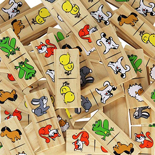 inTemenos Picture Dominoes for Preschool - Dominos for Kids - Wooden Domino Game Funny Animals 28 pcs