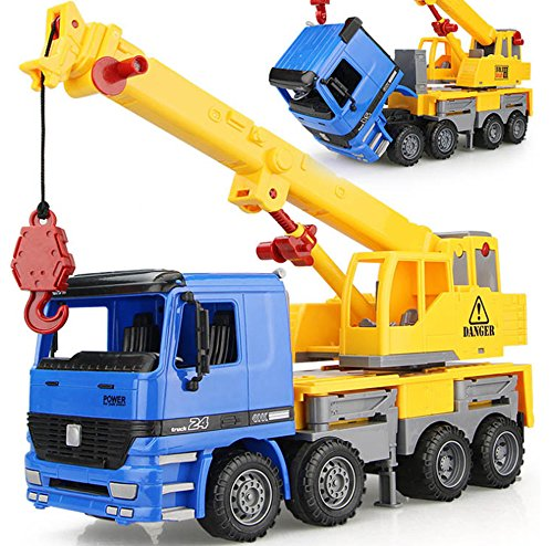 15 Inch Oversized Friction Large Crane Truck Construction Vehicle Kids Toy with Extendable Arm & Lever to Lift Crane