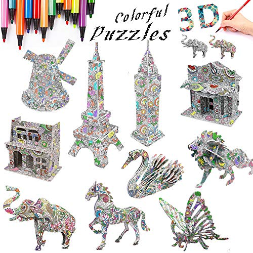 DDMY 3D Coloring Painting Puzzles Set DIY Arts and Crafts for Girls & Boys-Perfect Creativity Kit & Ideal Kids and Adults Gifts! -STEM Educational Assembly Toys (10pack)