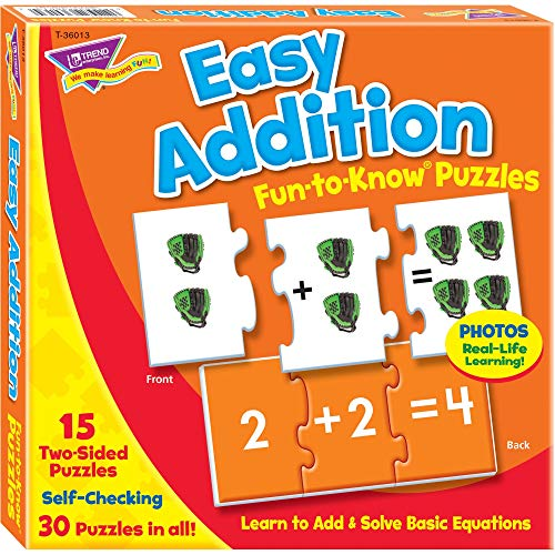 TREND enterprises, Inc. Easy Addition Fun-to-Know Puzzles - Matching Games to Build Math Skills