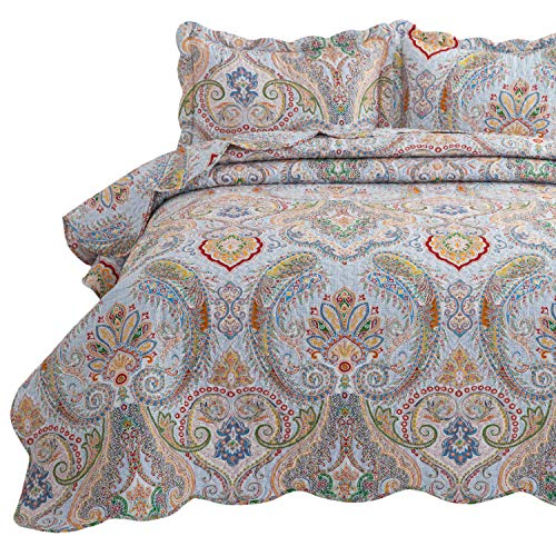 Bedsure 3-Piece Bohemia Paisley Pattern Queen Size Bedspread(90x96 inches), Lightweight Coverlet Quilt for Spring and Summer,1 Quilt and 2 Pillow Shams