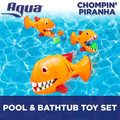 Aqua Chompin' Piranha, 5 Piece Set, Toss, Dive & Retrieve, Pool and Bathtub Toy, Ages 5 and Up