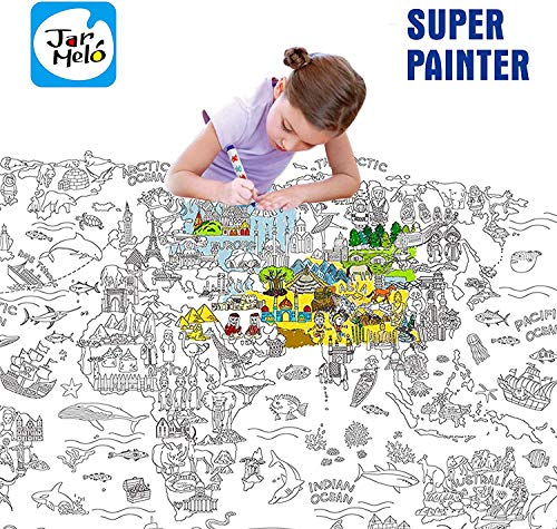 Jar Melo Super Painter;Giant Coloring Poster; The World; Doodle Art for Children; 45.3