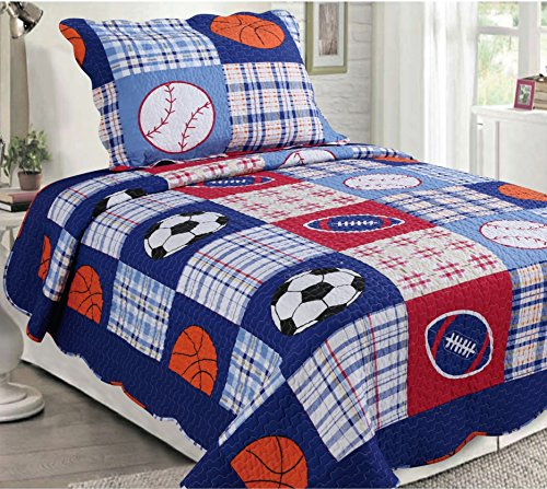 Golden Linens 2 Pieces Reversible Printed Kids Bedspread Sport American Football, Baseball and Basketball (01)