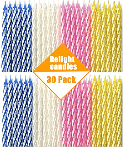 Bwealthest Magic Relight Birthday Candles - 30 Packs Cake Candles Fun Prank Kit Cake Tricks and Decorations Trick Candle for Birthday, Party, Christmas, Celebration (Multi, 30Pieces)