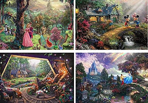 Ceaco Disney The Disney Collection 4 in 1 Multipack Sleeping Beauty, Mickey & Minnie Mouse, Snow White & Seven Dwarfs, and Cinderella Jigsaw Puzzles, (4) 500 Pieces