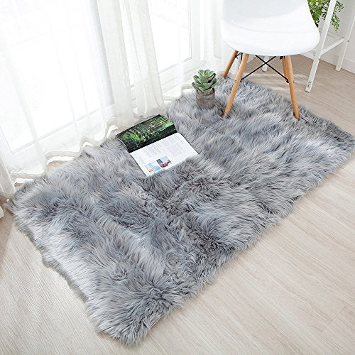 OJIA Deluxe Soft Fuzzy Fur Rugs Faux Sheepskin Shaggy Area Rugs Fluffy Modern Kids Carpet for Living Room Bedroom Sofa Bedside Decor(3 x 5ft, Grey)