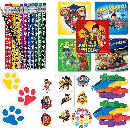 Paw Patrol Party Favor Pack For 24 Perfect to Fill Your Goodie Bags With Paw Pencils, Paw Erasers, Rubber Bracelets, Paw Patrol Stickers, Tattoos, and Exclusive Paw Birthday Pin By Another Dream