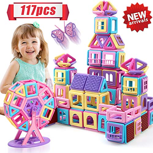 HOMOFY 117PCS Castle Magnetic Blocks for Boys Girls Kids -3D Macaron Colors Learning & Development Building Blocks Toys for 3 4 5 6 7 Year Old Boys Girls Gifts