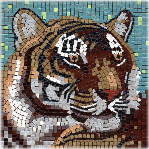 DIY Mosaic Art Kit 7'' Square, 20x20cm, Tiger