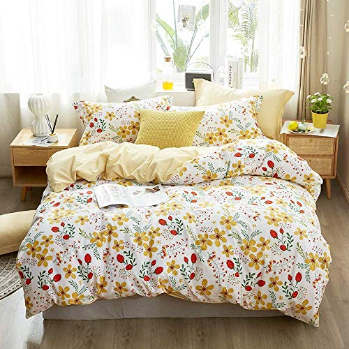 VCLIFE Girls Women Bedding Sets Farmhouse Flower Quilt Cover Sets, Queen Cotton Yellow Bedding Sets, Chic Ultra Soft Green Branches Yellow Floral Red Seeds Printed on White Bedding, Zipper Closure