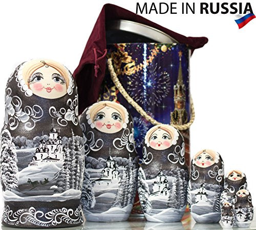 Russian Nesting Doll - Winter`s Tale - Hand Painted in Russia - Moscow Kremlin Gift Box - Wooden Decoration Gift Doll - Traditional Matryoshka Babushka (8`` (7 Dolls in 1), Silver Night)