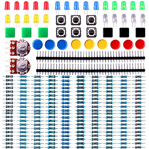 ELEGOO Electronics Component Pack with resistors, LEDs, Switch, Potentiometer for Arduino UNO, MEGA2560, Raspberry Pi