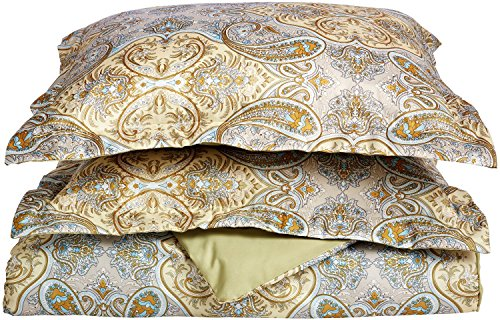 Superior Luxury Paisley Bedding, 100% Brushed Microfiber Duvet Cover Set with Shams, Silky Soft, Light Weight, and Wrinkle Resistant - King/California King Duvet, Ivory & Sage