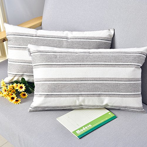 NATUS WEAVER 2 Pieces Multi Color Stripe Pillow Cases Soft Linen Square Decorative Throw Cushion Cover Pillowcase with Hidden Zipper for Sofa - 12