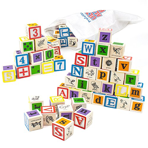 Imagination Generation Professor Poplar's Ultimate Alphabet and Number Blocks (50pcs.) with Cloth Storage Bag
