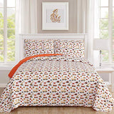 Sweet Home Collection 2 Piece Quilt Set Kids Design Fun Colorful and Comfortable Boys and Girls Toddler Hypoallergenic Soft Bedding, Twin/Twin XL, Construction