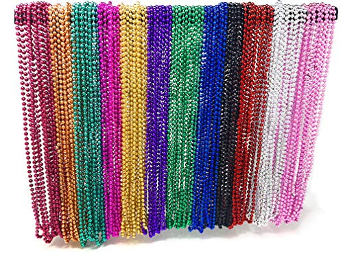 4E's Novelty Bulk 144 (12 Dozen) Mardi Gras Beads Necklaces 33 Inches Long 6mm Thick Round Metallic, 12 Colors, Great for Party Favor Necklaces, Gasparilla Costume Accessory Supplies