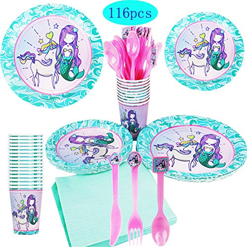 Mermaid Unicorn Party Supplies, Serve 16 Party Plates,Cups,Napkins and Cutlery for kids Girls Birthday Sleepover party Baby Shower