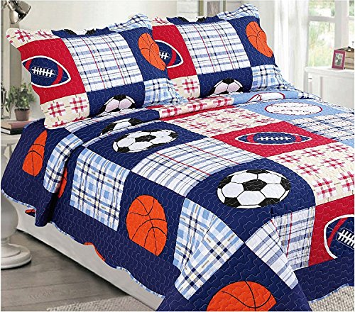 Elegant Home Multicolor Blue Red White Orange Patchwork Sports Basketball Football Baseball Soccer Design 3 Piece Coverlet Bedspread Quilt for Kids Teens Boys # 26 (Full Size)