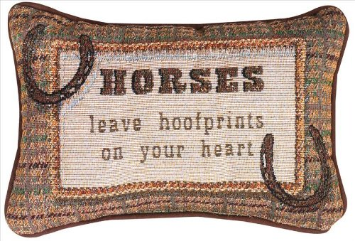 Manual 12.5 x 8.5-Inch Decorative Embroidered Word Pillow, Horses Leave Hoofprints