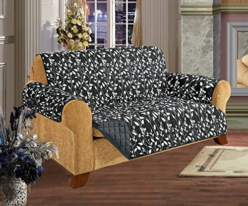 CELINE LINEN Quilted Furniture Protector for Pet Dog Children Kids -2 Ties to Stop Slipping Off Treatment Microfiber As Soft as Egyptian Cotton, Black Leaf Love