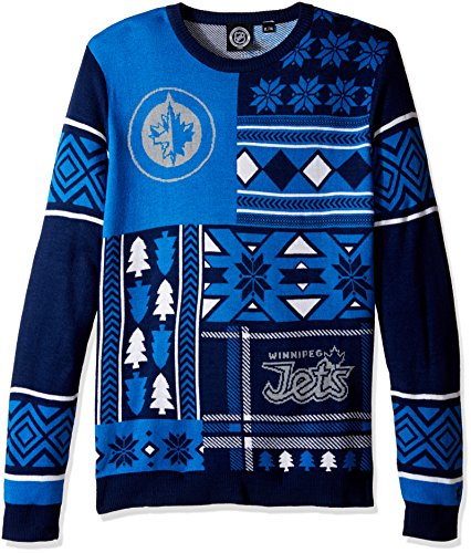 Winnipeg Jets Patches Ugly Crew Neck Sweater Small