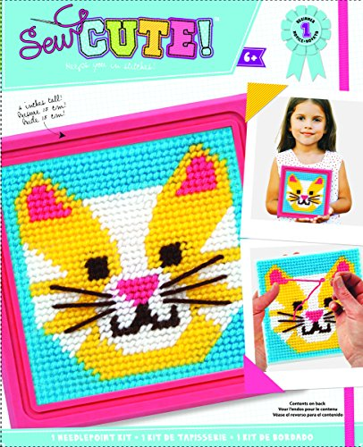 Colorbok 59338 Cat Learn to Sew Needlepoint Kit, 6-Inch by 6-Inch Pink Frame