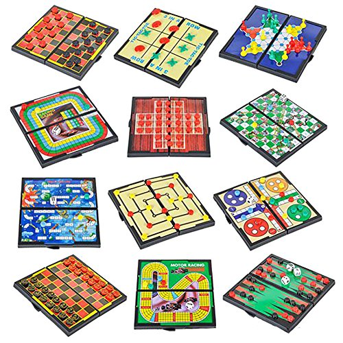 4E's Novelty 12 Bast Travel Sized Board Games. These Magnetic Games Set Contains All of Your Classic Favorites: Chess, Checkers, Tic-tac-Toe, Backgammon and Chinese Checkers are Included. 5