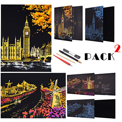 Rainbow Scratch Painting Paper By BOTEEN,City Series Night Scene,Scratch Painting Creative Gift,Scratchboard for Adult and Kids,with 4 Tools,Size:16''x11'' (Dutch Windmill,Big Ben)
