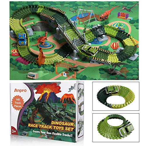 Anpro Dinosaur Toys, 148pcs Dinosaur Race Track Car Toy Set , Create A Dinosaur World Road Race Flexible Track Playset and 2 pcs Cool Dinosaur car for 3 4 5 6 Year & Up Old boy Girls Best Gift