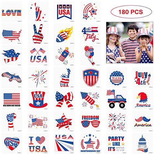 180PCS 4th of July Tattoos Accessories Decorations Patriotic Stickers Tattoos for 4th of July Party Favors Party Supplies, Independence Day Party Supplies - Gold & Silver Bronzing with 36 Designs 2020