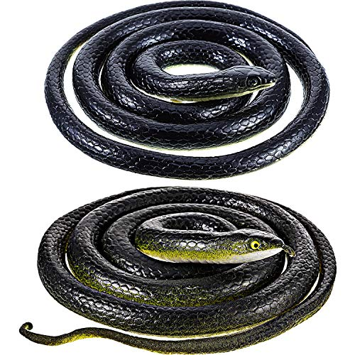 2 Pieces Large Rubber Snakes in 2 Sizes 51 Inches and 47 Inches, Fake Snake Black Mamba Snake Toys to Keep Birds Away, Halloween Decoration (2 Pieces, 51 Inch, 47 Inch)