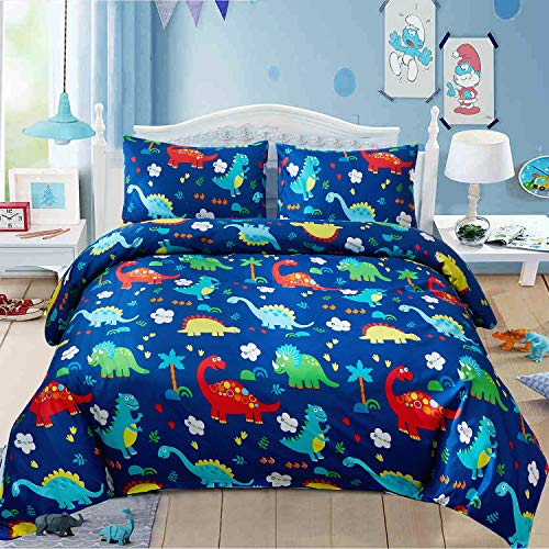 LAMEJOR Duvet Cover Sets Twin Size Cartoon Dinosaur Land Pattern Luxury Soft Bedding Set Comforter Cover (1 Duvet Cover+2 Pillowcases) Blue