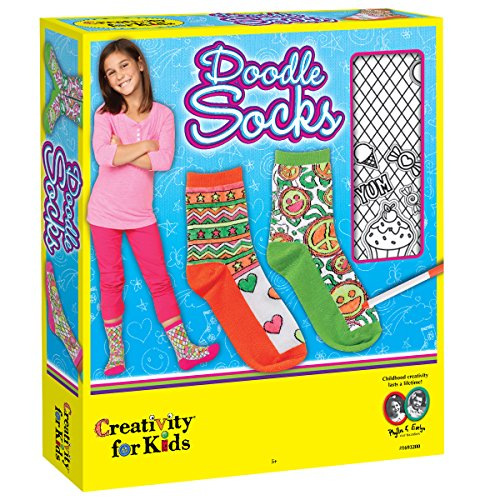 Creativity for Kids Doodle Socks – 3 Pairs of Socks to Color – Teaches Beneficial Skills – On Size Fits Most – for Ages 7 and Up