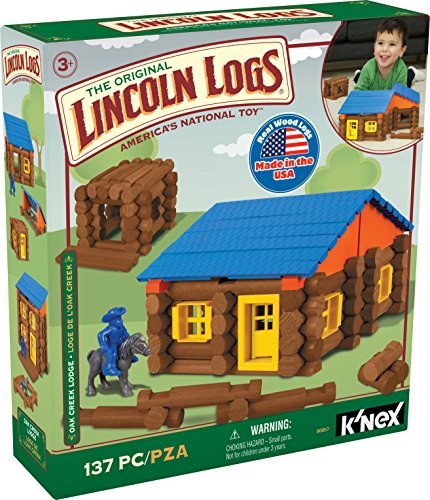 LINCOLN LOGS – Oak Creek Lodge – 137 Pieces - Real Wood Logs-Ages 3+ - Best Retro Building Gift Set for Boys/Girls – Creative Construction Engineering – Top Blocks Game Kit - Preschool Education Toy