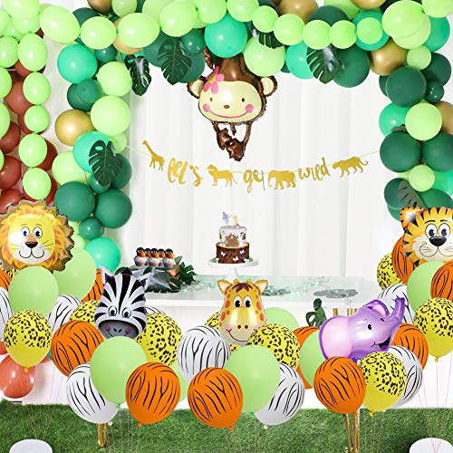 foci cozi 148 Pack Jungle Safari Theme Party Decorations Set:148 latex balloons, 12 Green Palm Leaves, 1 banner 4 cake topper 16 feets Arch Balloon strip tape, 1 Balloon tying tools Safri party Supplies Favors for Kids Boys Birthday Baby Shower Decor
