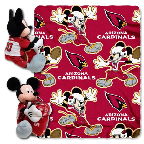 NFL Arizona Cardinals Co-Brand Disney Mickey Mouse Hugger & Fleece Throw Set, 40