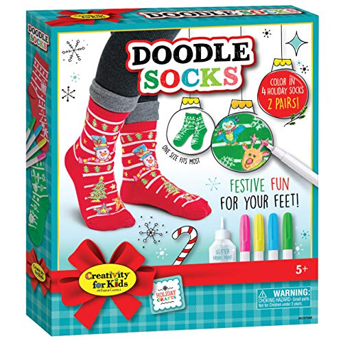 Creativity for Kids Holiday Doodle Socks - Color in 2 Pairs of Christmas Socks for Kids