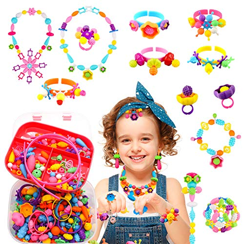 Pop Beads Gifts for Girls - 550+Pcs DIY Jewelry Making Kit for Toddlers 3, 4, 5, 6, 7, 8 Year Old, Kids Pop Snap Beads Set Hair Band, Necklaces, Bracelets, Rings and Art & Crafts Creativity Toys