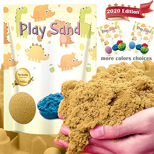 Kiddosland Dino Play Sand 3 LBS Refill Pack- Stretchable and Moldable Sensory Play Sand for Indoor Outdoor Activity, Non-Toxic Sand kit Sensory Toys for Boys & Girls (Natural Color)