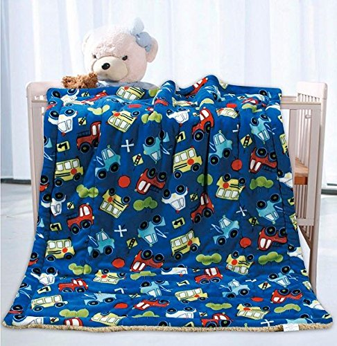 Elegant Home Kids Soft & Warm Sherpa Baby Toddler Boy Sherpa Blanket Multicolor Cars Trucks Buses Printed Borrego Stroller or Toddler Bed Blanket Plush Throw 40X50# Cars