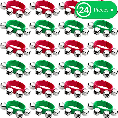 24 Pieces Christmas Band Wrist Bells Bracelets Jingle Musical Ankle Bells Rhythm Instrument Percussion Party Favors (Red, Green)