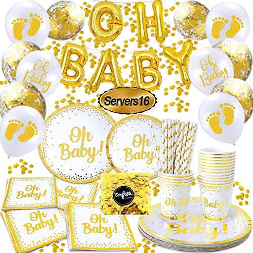 Oh Baby Decorations for Baby Shower , Oh Baby Shower Plates and Napkins ,oh Baby Gold Balloons Banner, Gold Paper Plates, Cups, Strawers and Napkins | Disposable Tableware(16 Guests)