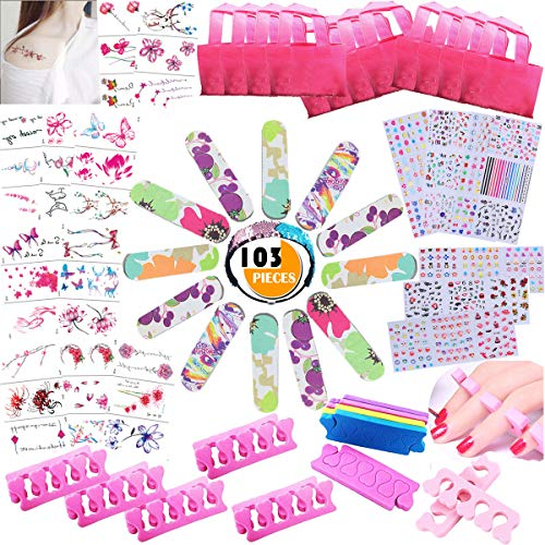 Spa Party Favors for Girls Multiple Spa Party Supplies Item- 103PCS Spa Headband Tote Bag MINI Emery Board Toe Separator Body Flower Mermaid Nail Decal Set, Perfect Gift for Daughter's Birthday Party